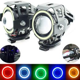 2019 le luci motociclistiche hanno portato gli occhi dell'angelo U7 Moto del faro del LED Angel Eyes guida corrente capa Spotlight dalla lampada della nebbia della lampada della luce per la barca camion auto sconti le luci motociclistiche hanno portato gli occhi dell'angelo