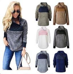 schräge jacke mode Rabatt Mode Frauen Pullover Sherpa Pullover Fleece Patchwork Sweatshirt beiläufige Oblique-Knopf Kragen Hoodie Winter-Outwear Jacke S-3XL C92706