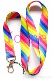 Lances de arco-íris ao atacado on-line-Novo Frete grátis 20 pcs MultiColor, Rainbow stripe Design Pescoço Lanyard para Câmera / telefone cadeia cadeia atacado