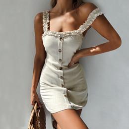 6676a3290c6 Sexy Womens Dress Strap Slip Ruffle Gingham Button Up A-Line Sleeveless  Mini dresses woman party night beach dresses 2019 NEW inexpensive sexy mini  slips