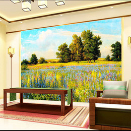 hand painted garden Coupons - Hand-painted garden wallpaper murals Living room sofa bedroom TV background wall paper Flower oil painting seamless environmental protection