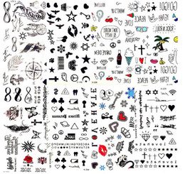 Adesivi piccoli stella online-Hot piccole labbra sexy foglia nero Cartoon tatuaggio temporaneo Cute Star Tattoo Sticker Amore donne Body Finger Art impermeabile Tatoo Kid