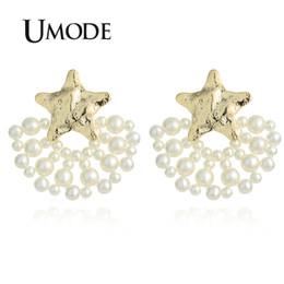Koreanische sternmädchen online-UMODE Stern Gold Große Quaste Ohrringe für Frauen Korean Perle Baumeln Ohrringe Hochzeit Mädchen Geschenk Modeschmuck Zubehör UE0506