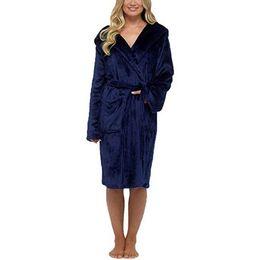 Langärmelige nachthemden online-Frauen Winter Plüsch Verlängerte Schal Bademantel Startseite Kleidung Langärmelige Robe Mantel weibliche einfarbig warme Nachthemd Schlaf Robe