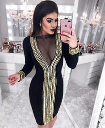 2019 Elbise Seksi Ünlü Tam Örgü Elmas Kadınlar Straplez Vintage See-Through Gece Kulübü Parti Vücut con Elbiseler Toptan nereden