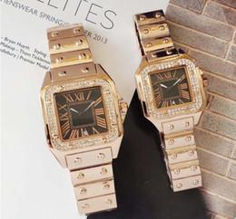 Uomini guardano grande piazza online-Diamanti quadrati di alta qualità Uomo Donna Orologio Orologio casual Quadrante grande Orologi da polso da uomo Orologi di lusso Amanti diamanti orologio classico da donna