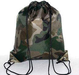 Sacchetto di scarpe da imballaggio del drawstring online-Borse grandi Camouflage coulisse 210D confezione impermeabile dello zaino Drawstring Camo Gym Bag Scuola Sport Outdoor Shoe Bag