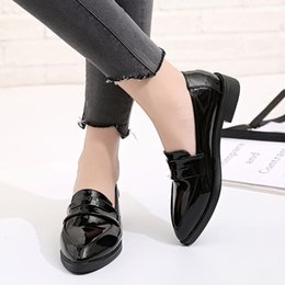 df9984fb0532 Women British Style Oxford Shoes Lady Spring Patent Leather Oxfords Flat  Heel Casual Footwear Slip on Dress Shoes