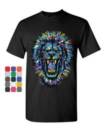 2019 la pittura del leone Dipingi Splatter Roaring Lion T-Shirt King Big Cat Animal Wildlife Mens Tee Shirt Divertente spedizione gratuita Unisex Casual la pittura del leone economici