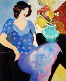 Olio di ritratto moderno online-Itzchak Tarkay Nouvelles Figuration Home Opere d'arte Modern Senhora Portrait Dipinti ad olio fatti a mano su tela concava e convessa Consistenza IT084
