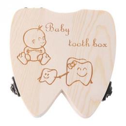 caixa de lembrança do bebê Desconto As meninas de madeira do armazenamento do organizador dos dentes de leite da caixa do dente do bebê salvar o caso da lembrança