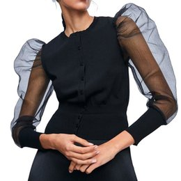Вязаная куртка джинсовая куртка онлайн-DEAT 2019 осень o шеи женщины вязать кардиган черный рукав вязаный черный джинсовая куртка длинная сетка слоеного рукава тонкий сексуальное пальто MF912