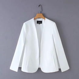 Damen mode mantel design online-Split Design Frauen Mantel Anzug Mantel Casual Lady Schwarz Und Weiß Jacke Mode Streetwear Lose Oberbekleidung Tops C613 T190824