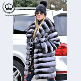 translate exception! Sconti 2019 New Real Chinchilla Rex cappotto di pelliccia con cappuccio grande Figura intera pelliccia lunga delle donne piumini Plus Size RB-058