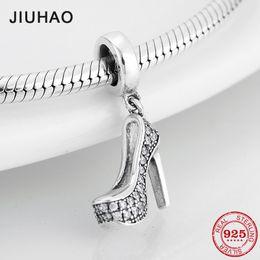 Hermosa plata de ley 925 brillante claro CZ Crystal Tacones altos Forma Charm Fit Pandora original encantos pulsera joyería desde fabricantes