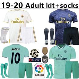 camisa ozil alemanha Desconto 2019 2020 Real Madrid kit adulto + meias Sports Camisas de futebol em casa MODRIC MARCELO VINICIUS JR KROOS ISCO ASENSIO BALE Camisas de Futebol