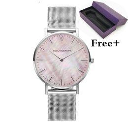 Assista a sorte on-line-Nova marca de moda paul valentine relógio unisex charme shell rosa superfície da mão legal casal assistir quartzo cinto de malha de aço inoxidável relógio de sorte