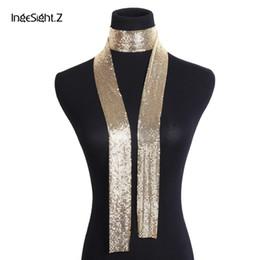schal choker Rabatt IngeSight.Z Vintage Aluminium Net Choker Halskette Kragen Aussage Bunte Pailletten Lange Kette Halskette Schal für Frauen Schmuck