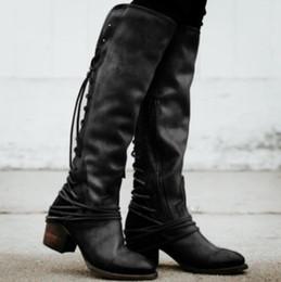 2019 gefesseltes leder Sapato Feminino Frauen Stiefel kniehohe Vintage PU-Leder Schuhe Frau gekreuzte Schnürung Gladiator Booties Mädchen Chaussure D107 günstig gefesseltes leder