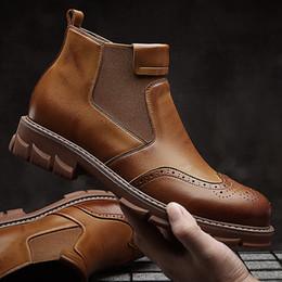 Botas de corte baixo marrom homens on-line-2019 New Arrival lazer Moda Bloco dos homens estilo Martin botas casuais couro genuíno Cavaleiro Botas Castanho Preto Tornozelo Botas originais 38-44
