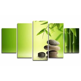 Современная живопись бамбука онлайн-Современная живопись стены искусства модульная гостиная фотографии 5 панель бамбук листья камень рамки HD печатных холст плакат домашнего декора