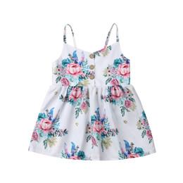Una linea di cinghia di fiori online-Cute Baby Baby Girl abiti backless strap Button Flower stampa principessa bambini cotone bella senza maniche Mini abiti uno pezzi