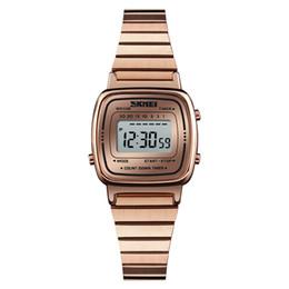 skmei ver mujeres Rebajas Skmei Mujer Relojes exquisito LED Reloj Digital informal pequeño dial impermeable de malla de acero correa de pulsera de las señoras Reloj Reloj Mujeres