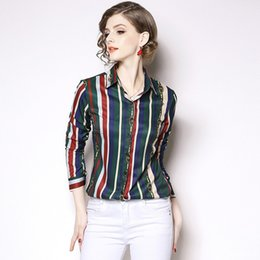 c3cb1466ad940 2019 Lady OL Career Formal Striped Shirt Lapel Neck Long Sleeve T Shirt  Printing Blouse Clothing