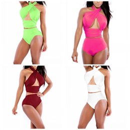 Grande swimwear della cassa online-Wrap Chest Big Code Bikini Set Halter Pure Colour Swimwear da donna Summer Beach Fashion Costume da bagno Confortevole Vendita calda 13mc I1