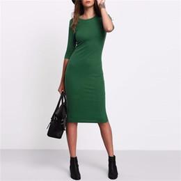 2019 Abiti estivi da donna stile estivo Abiti sexy casual girocollo verde mezza manica midi da