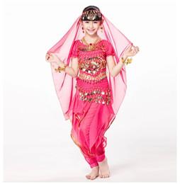 Braccialetto indiano della testa online-Costume da danza indiana per bambini 5 pezzi Costume intero, cintura, pantaloni e copricapo Braccialetti per monete Bollywood Costumi per bambini