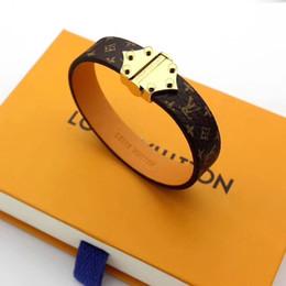 Scatole di gioielli in pelle per le donne online-Paris Fashion Loui Braccialetti di marca in pelle per uomo Donna Bracciale di design in pelle Cinturino in pelle gioielli Con scatola Night Club Jewelry