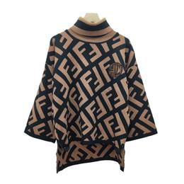 женские свитера Скидка Хаки/белый Черепаха шеи с длинным рукавом женщин свитера Письмо печати аппликация боковой щели дизайнер пуловер