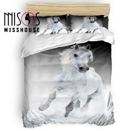 Juegos de cama de caballos reina online-MISSHOUSE White Horse Animal cubierta del Duvet de las hojas de cama Fundas de almohadas Consolador cubierta 4pcs Juegos de cama