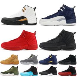 official photos eacef a788e Wntr Nike Air Jordan Retro 12 XII Hommes Chaussure De Basket-ball Gym Rouge  PRM Français Nylon Bleu Le Maître 12s Mâle Designer Chaussures Sport Baskets  ...