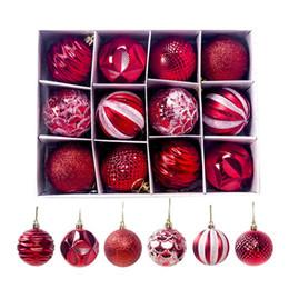 Новогодняя елка красные шары онлайн-12pcs / Set 60mm Christmas Xmas Tree бал безделушка висячие Главная партия Украшение Декор Красочный красный Золотой мяч Higt качества Рождественская елка