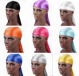 Nueva moda caliente de los hombres de satén Durags Bandana turbante pelucas hombres sedoso Durag Headwear diadema sombrero de pirata accesorios para el cabello desde fabricantes