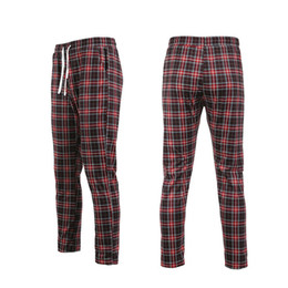 checked pants men Promo Codes - 2019 New Brand Cotton Men Pants The Found Men Plaid Check Casual Trousers Pants Lattice Slim Fit Skinny