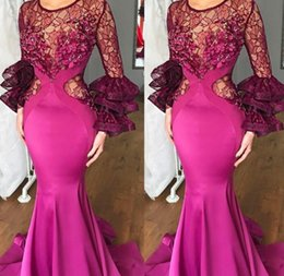 Cor cetim fúcsia on-line-Sheer Lace Mangas Compridas Vestidos de Baile Fúcsia Cor Sereia Vestidos de Noite Do Sul Africano Mulheres Formal Vestido de Festa Barato Formal Wear