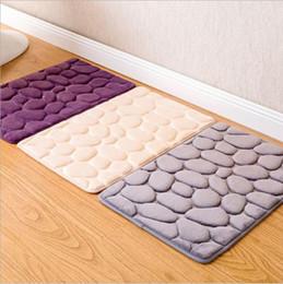 Guijarros verdes online-Diseño de guijarros cocina baño antideslizante alfombras de colores sólidos tapete tapete