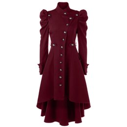 Deutschland Clocolor Frauen Mantel Gothic Weibliche Dünne Einreiher Mädchen Winter Warme Dünne Lange Hülse Frauen Mantel Trenchcoat supplier girls long sleeve trench Versorgung