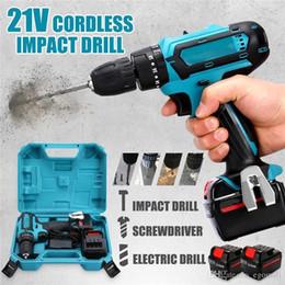 cobre rca plugs Desconto 21V Cordless Impact Broca de potência Broca recarregável 2 Speed elétrica chave de fenda Motorista com 2 pilhas