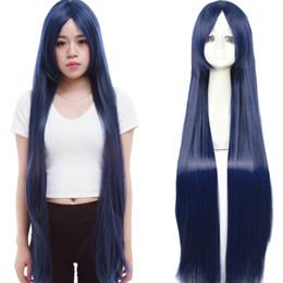 Cabelo azul longo anime on-line-Detalhes sobre Fahion mulheres azul escuro longo linha reta Anime Cosplay Partido peruca peruca de cabelo completa