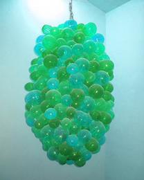 Melhor venda de pingente de luz on-line-Best Selling Cozinha Vidro Bolha Lustre Acessível Azul e Verde Decoração de Casamento Murano Vidro Pingente de Luz Barato