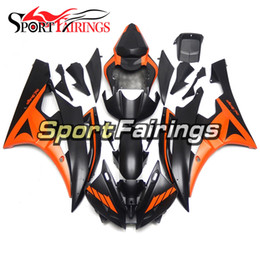 yamaha r6 orange black Promo Codes - ABS Injection Molding Complete Matte Black Orange Full Cowlings For Yamaha YZF-600 R6 Year 2006 2007 ABS Plastic Fairing 06 07 R6