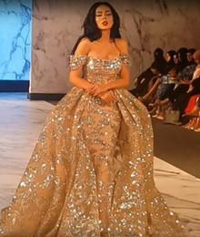 Sexy petite en Ligne-Robes de soirée 2019 Yousef Aljasmi Dubai arabe à manches courtes épaule épaule robe de bal robe de soirée en dentelle à sequins Robe de soirée