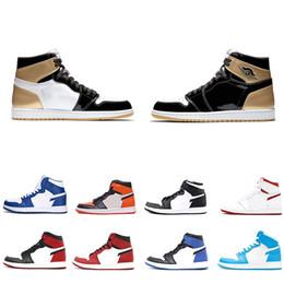 Jeux d'argile en Ligne-Nike Jordan 1 AJ1 1s chaussures meilleur haut jeu OG Royal banni Shadow Bred Toe Basketball chaussures Top qualité argile verte formateurs 1S Sneakers taille EUR40-47