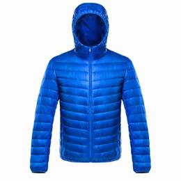 Giacche satinate online-Giacca leggera Hoded addensare Warm Blue Coat MenWomen dell'anatra giù giacca invernale raso molle Outwear Large Size 3XL 4XL