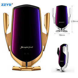 2019 caricatori di legno all'ingrosso ZZYD Car Holder R1 Wireless Car Charger Automatic Clamping For iphone Android Air Vent Phone Holder 360 Degree Rotation 10W Fast Charge