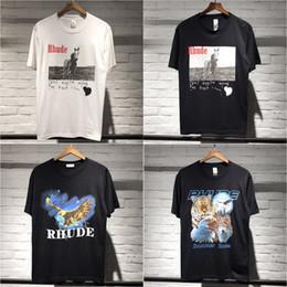 Canada 2019 Nouveau T-shirt Rhude Homme A $ AP Tee-shirt Coton À Manches Courtes Imprimé Rocky Hip Hop Streetwear En Coton Blanc Noir CLI0518 cheap eagles t shirts Offre